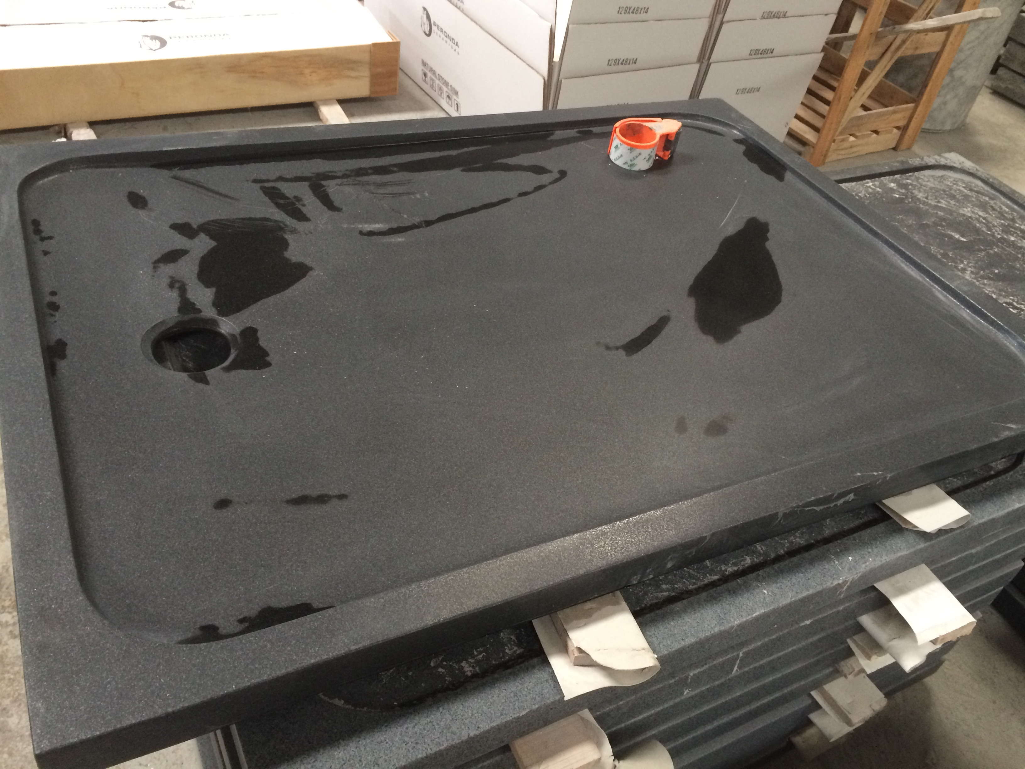 Black granite tray