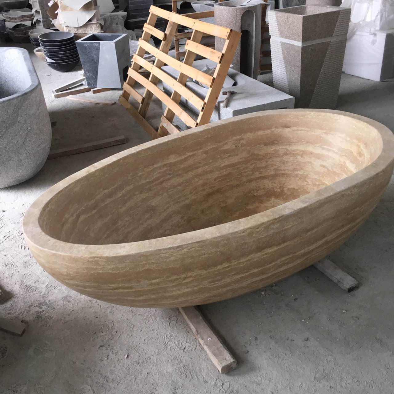 Travertine bathtub